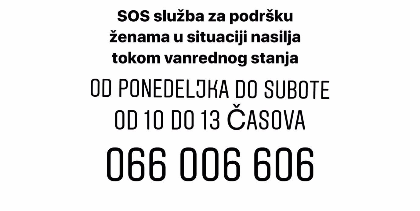 Udruzenje zena Pescanik - Informacija o radu SOS telefona UŽ Peščanik u periodu od 03. marta do 04. aprila 2020